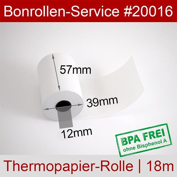 Detailansicht mit Rollenmaßen - Thermorollen / Kassenrollen, BPA-frei 57 / 18m / 12 für HSM iWL258 V3