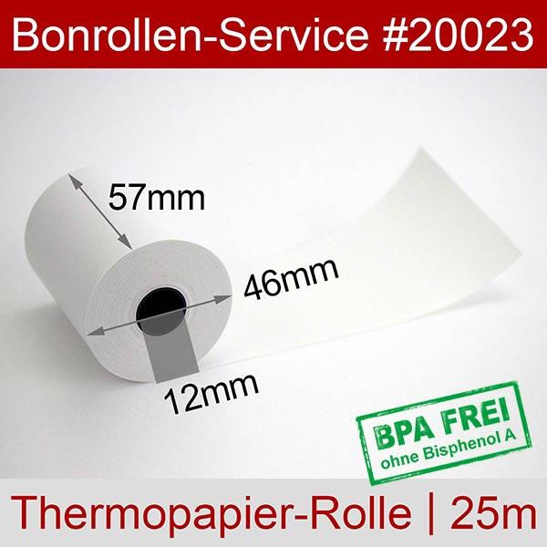 Detailansicht mit Rollenmaßen - Thermorollen / Kassenrollen, BPA-frei 57 / 25m / 12 für Hypercom Optimum T4260