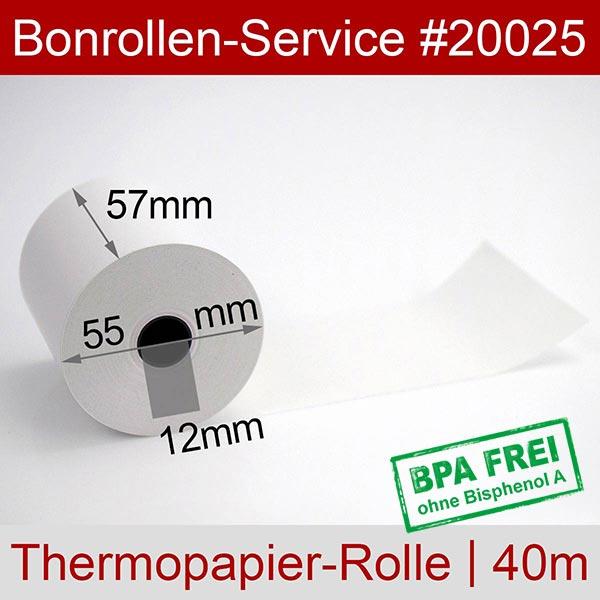 Detailansicht mit Rollenmaßen - Thermorollen / Kassenrollen, BPA-frei 57 / 40m / 12 für Epson TM-m10