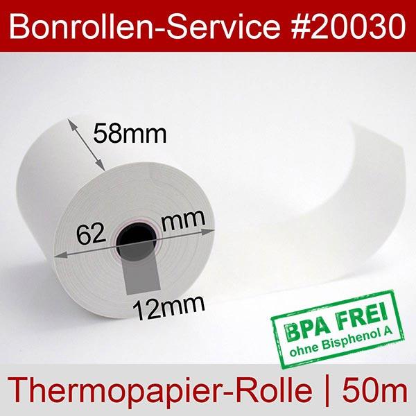 Detailansicht mit Rollenmaßen - Thermorollen / Kassenrollen, BPA-frei 58 / 50m / 12 für SAM4S ER-260