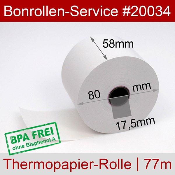 Detailansicht mit Rollenmaßen - Thermorollen / Kassenrollen, BPA-frei 58 / 80 / 17,5 für Multi-Data ECR 116
