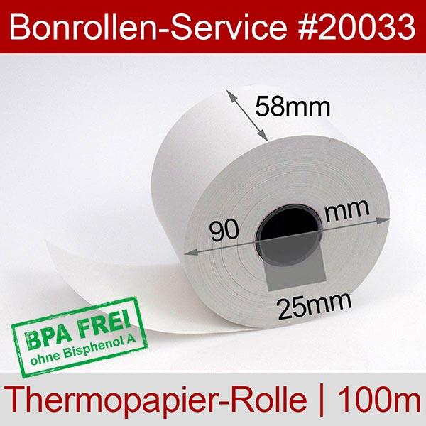 Detailansicht mit Rollenmaßen - Thermorollen / Automatenrollen, BPA-frei 58 / 90 / 25 für Datecs EP-700