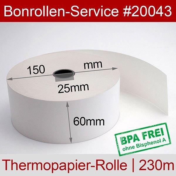 Detailansicht mit Rollenmaßen - Thermorollen / Automatenrollen, BPA-frei 60 / 150 / 25 für Axiohm MLTP