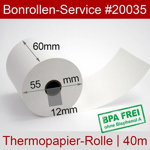 Detailansicht mit Rollenmaßen - Thermorollen / Kassenrollen, BPA-frei 60 / 40m / 12 für Epson M-T523IIAP
