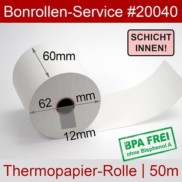 Detailansicht mit Rollenmaßen - Thermorollen / Kassenrollen, BPA-frei 60 / 50m / 12 für INDATEC / INKA, Innenwicklung für Indatec INKA 10