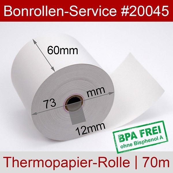 Detailansicht mit Rollenmaßen - Thermorollen / Kassenrollen BPA-frei 60 / 70m / 12 für Citizen CBM-253