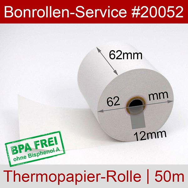 Detailansicht mit Rollenmaßen - Thermo-Kassenrollen / Waagenrollen, BPA-frei 62 / 50m / 12 für Mettler-Toledo bTwin
