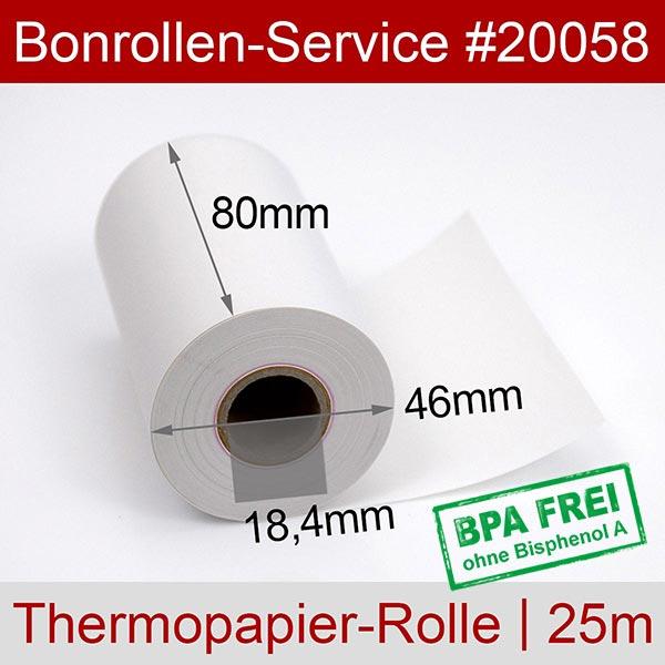 Detailansicht mit Rollenmaßen - Thermorollen / Kassenrollen, BPA-frei 80 / 25m / 18,4 für Epson M-T532IIAP