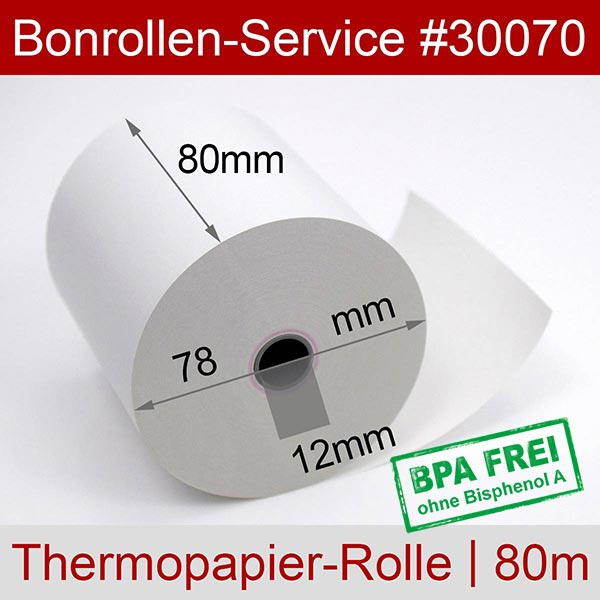 Detailansicht mit Rollenmaßen - Thermorollen / Kassenrollen, BPA-frei 80 / 80m / 12 für Posbank A10-NB