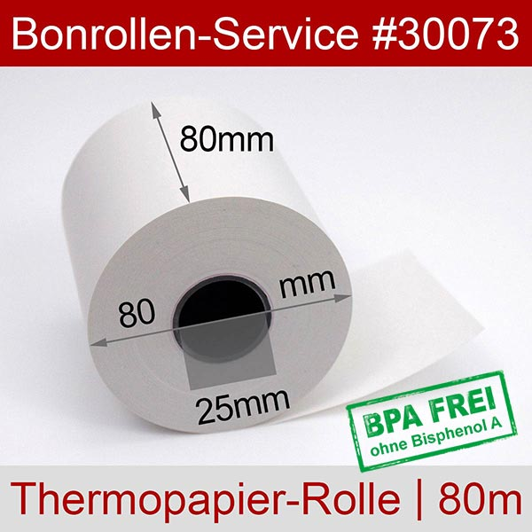 Detailansicht mit Rollenmaßen - Thermorollen / Automatenrollen, BPA-frei 80 / 80m / 25 für Citizen CL-E720