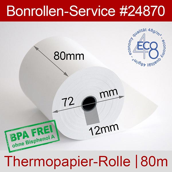 Detailansicht mit Rollenmaßen - Thermorollen in Economy-Qualität, BPA-frei 80 / 80m / 12 für Posbank A10-NB