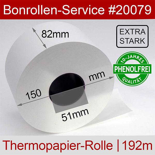 Detailansicht mit Rollenmaßen - Thermorollen / Automatenrollen, phenolfrei 82 / 150 / 51 (80g/m²) für Axiohm MLTP