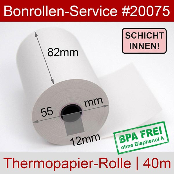 Detailansicht mit Rollenmaßen - Thermorollen / Kassenrollen, BPA-frei 82 / 40m / 12 für INDATEC / INKA, Innenwicklung für Indatec INKA 430