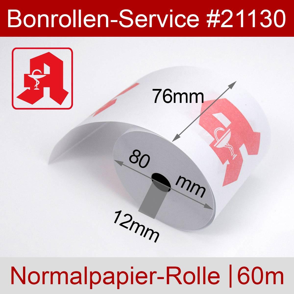 Apothekenrollen 76 / 80 / 12 weiß, Normalpapier - Detailansicht