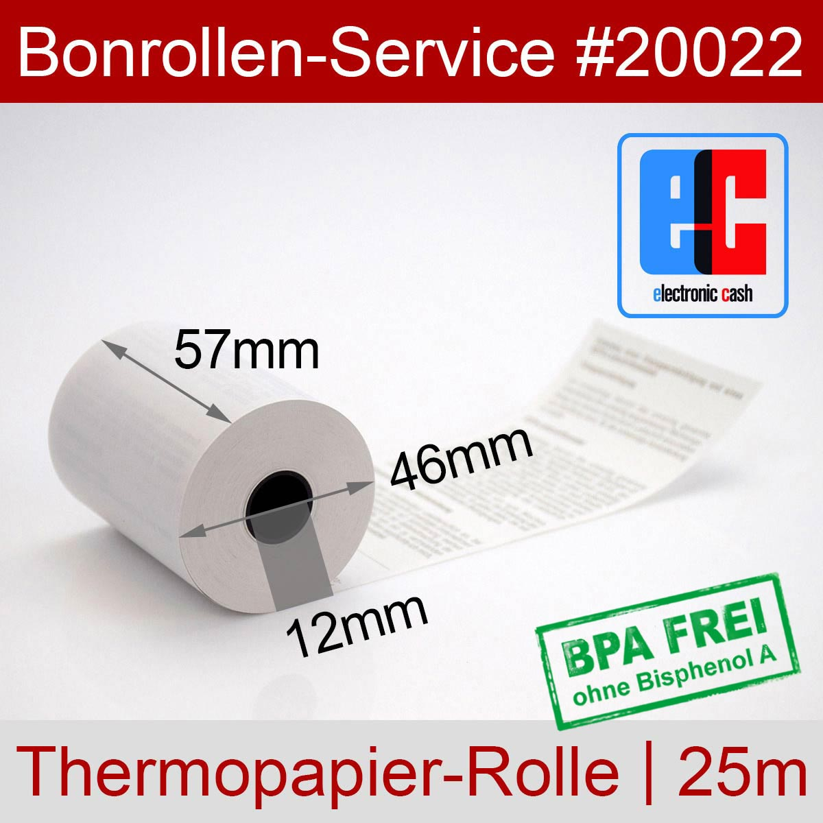 EC-Thermorollen 57 / 25m / 12 weiß mit SEPA-Text - Detailansicht