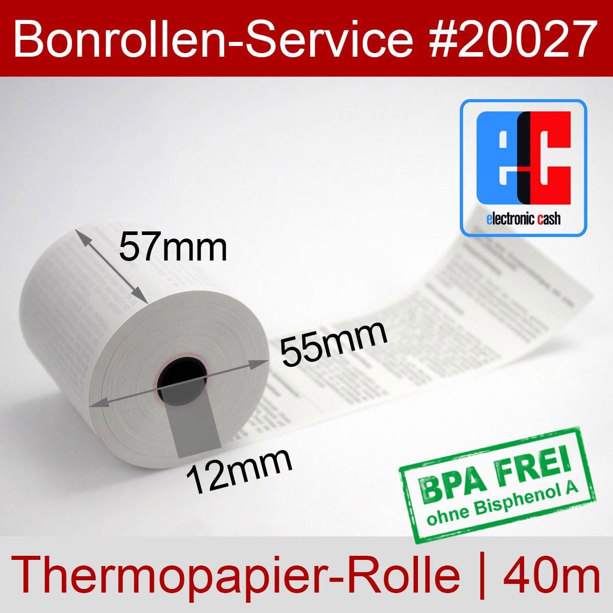 EC-Thermorollen BPA-frei 57 / 40m / 12 weiß, mit SEPA-Text - Detailansicht