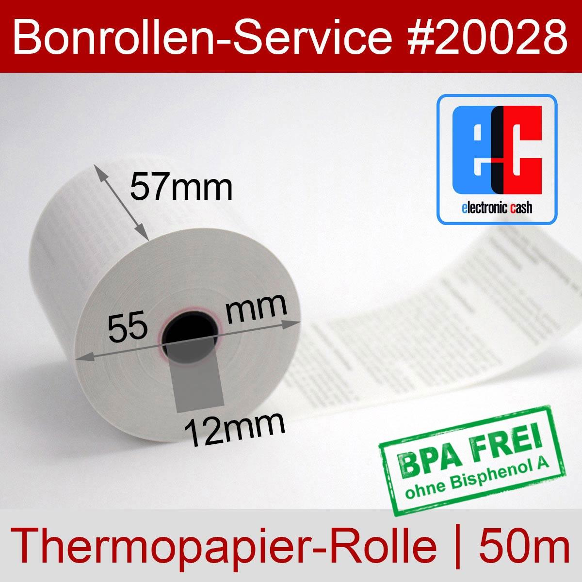 EC-Thermorollen 57 / 50m / 12 weiß mit SEPA-Text - Detailansicht
