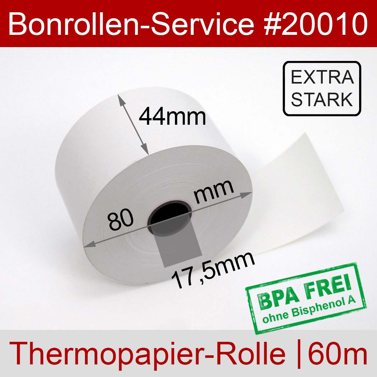 Thermorollen 44 / 80 / 17,5 weiß mit extra-starkem Papier - Detailansicht