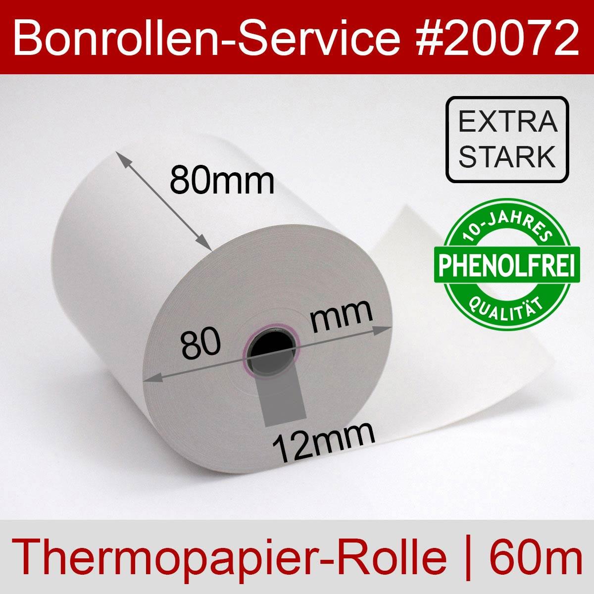 Thermorollen phenolfrei 80 / 80 / 12 weiß, mit extra-starkem Papier - Detailansicht