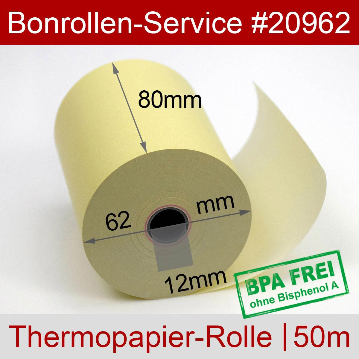 Thermorollen 80 / 50m / 12 gelb - Detailansicht