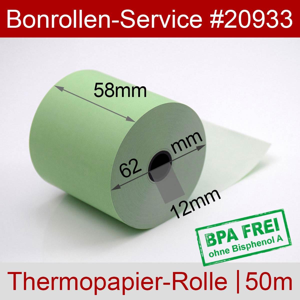 Thermorollen BPA-frei 58 / 50m / 12 grün - Detailansicht