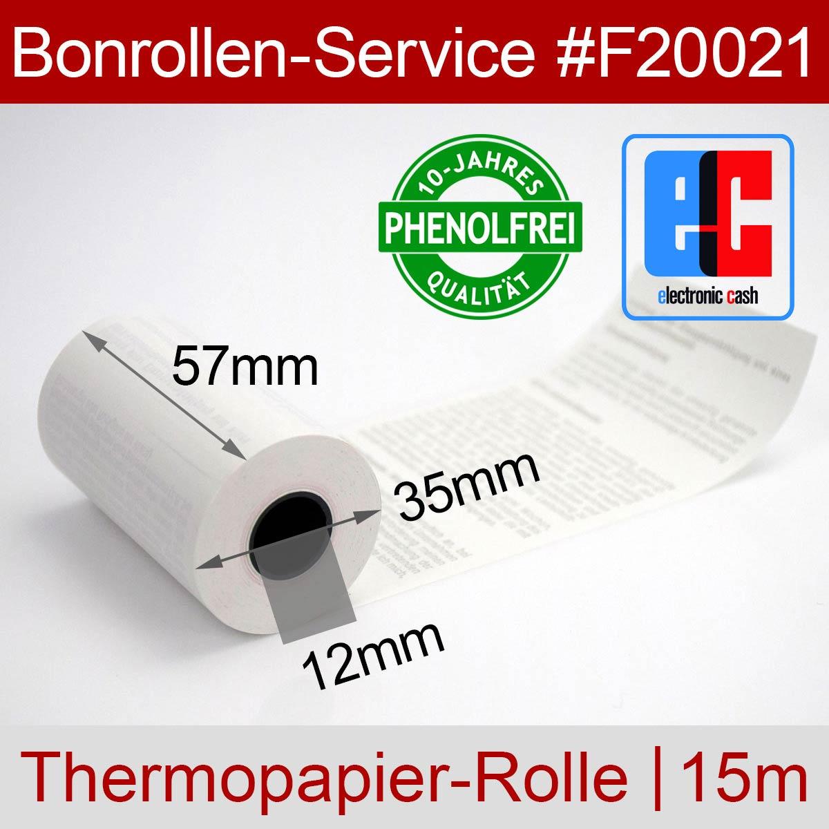 Kurze EC-Thermorollen 57 / 15m / 12 weiß mit SEPA-Text (10-Jahres-Qualität, phenolfrei) - Detailansicht