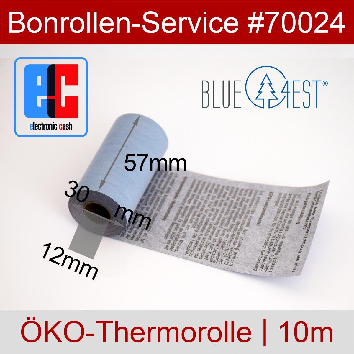 EC-Thermorollen Blue4est 57 / 10m / 12 mit Lastschrifttext, blau - Detailansicht