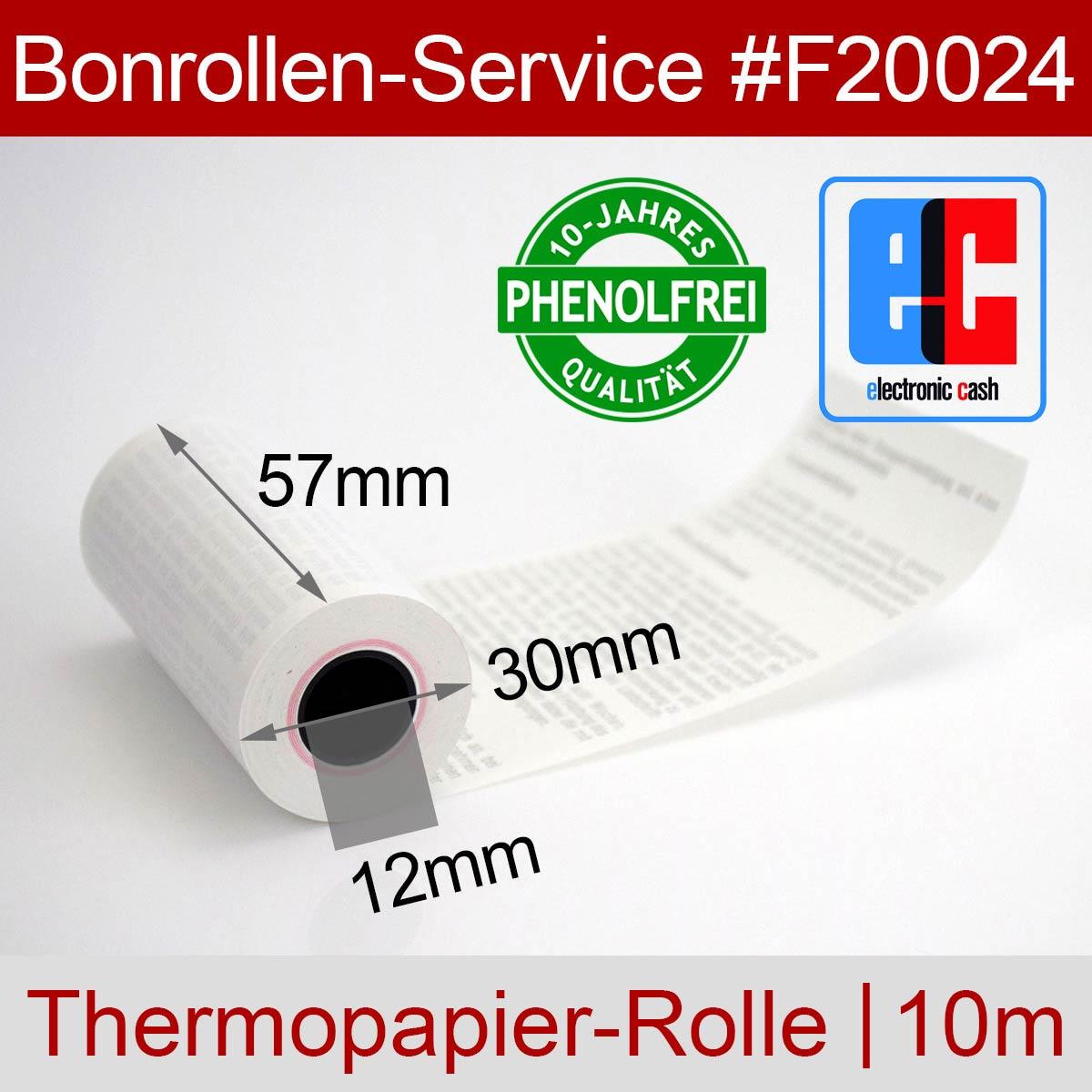 Phenolfreie EC-Thermorollen 57 / 10m / 12 weiß, mit SEPA-Text - Detailansicht