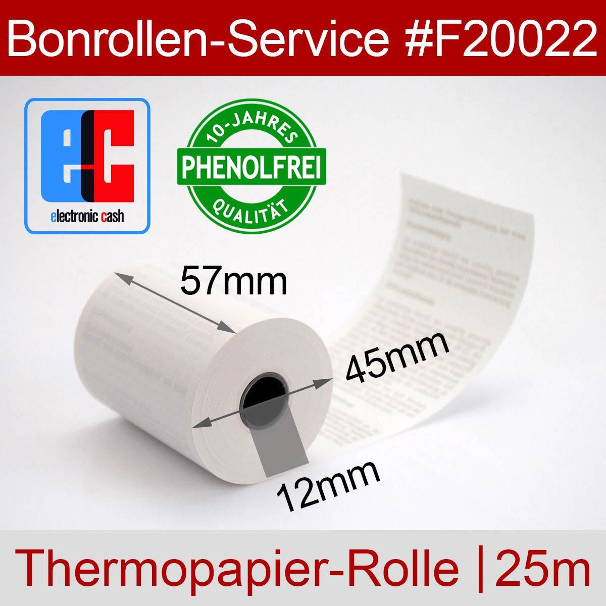 Phenolfreie EC-Thermorollen 57 / 25m / 12 weiß, mit SEPA-Text - Detailansicht