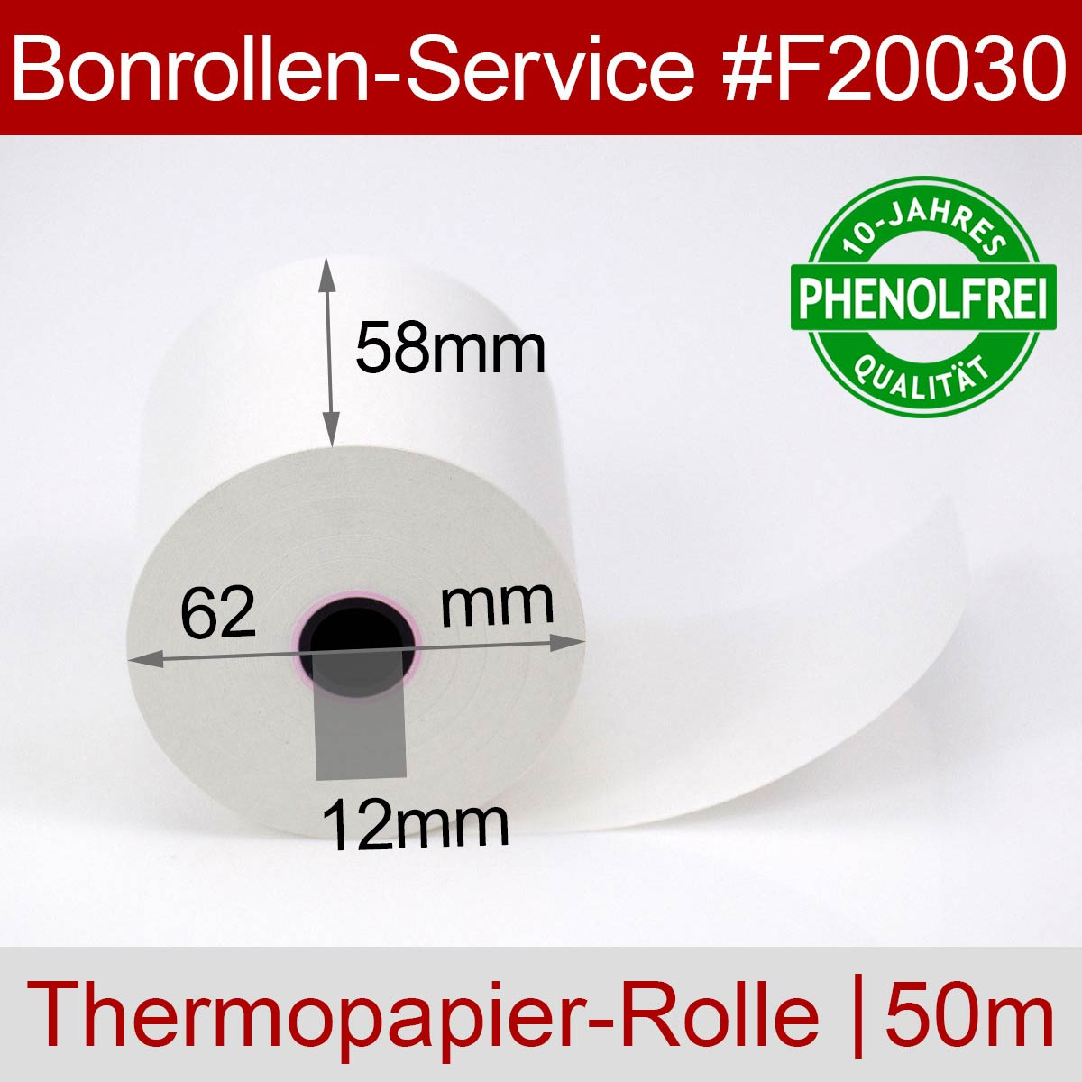 Phenolfreie Thermorollen 58 / 50m / 12 weiß - Detailansicht