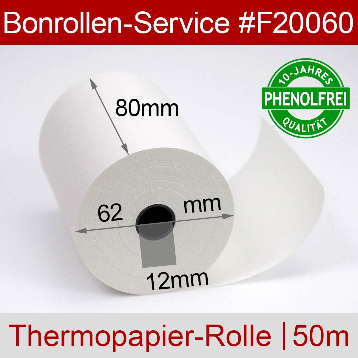 Phenolfreie Thermorollen 80 / 50m / 12 weiß - Detailansicht