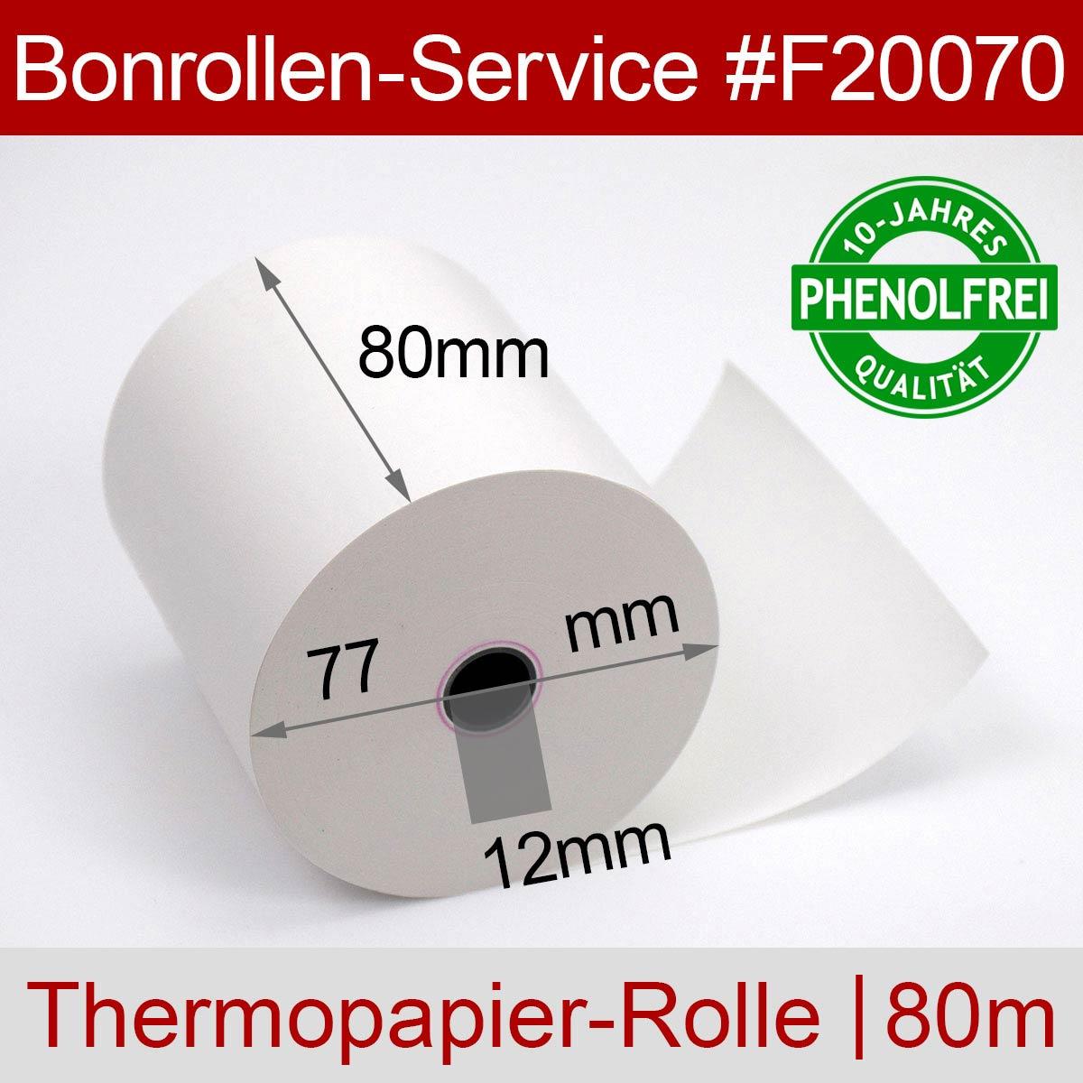 Phenolfreie Thermorollen 80 / 80m / 12 weiß - Detailansicht