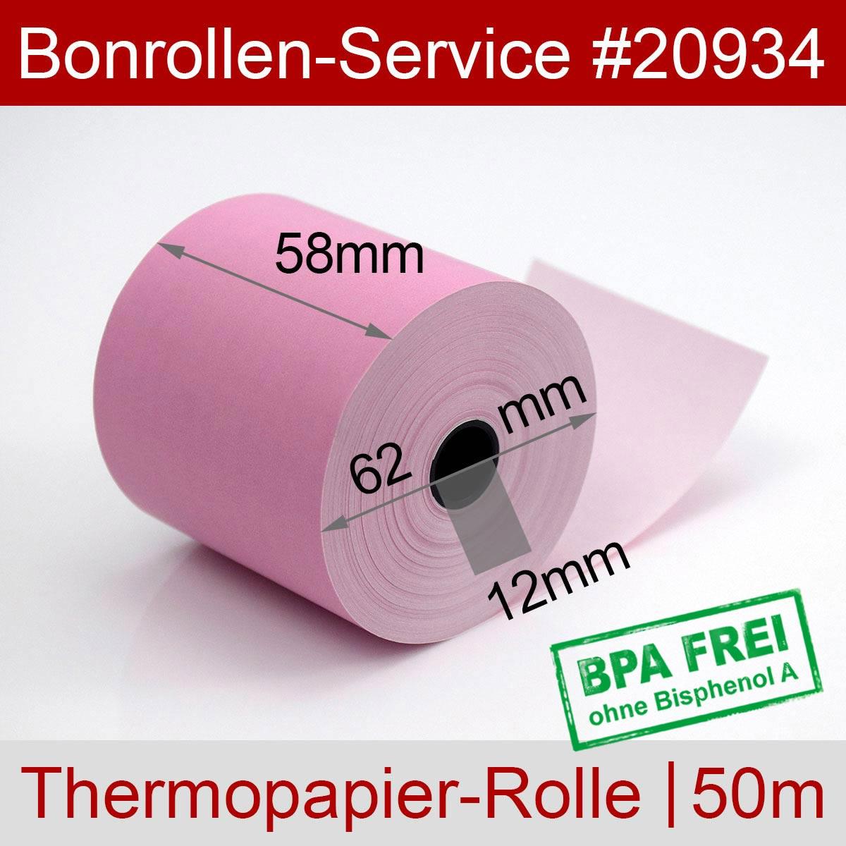Thermorollen BPA-frei 58 / 50m / 12 rosa - Detailansicht
