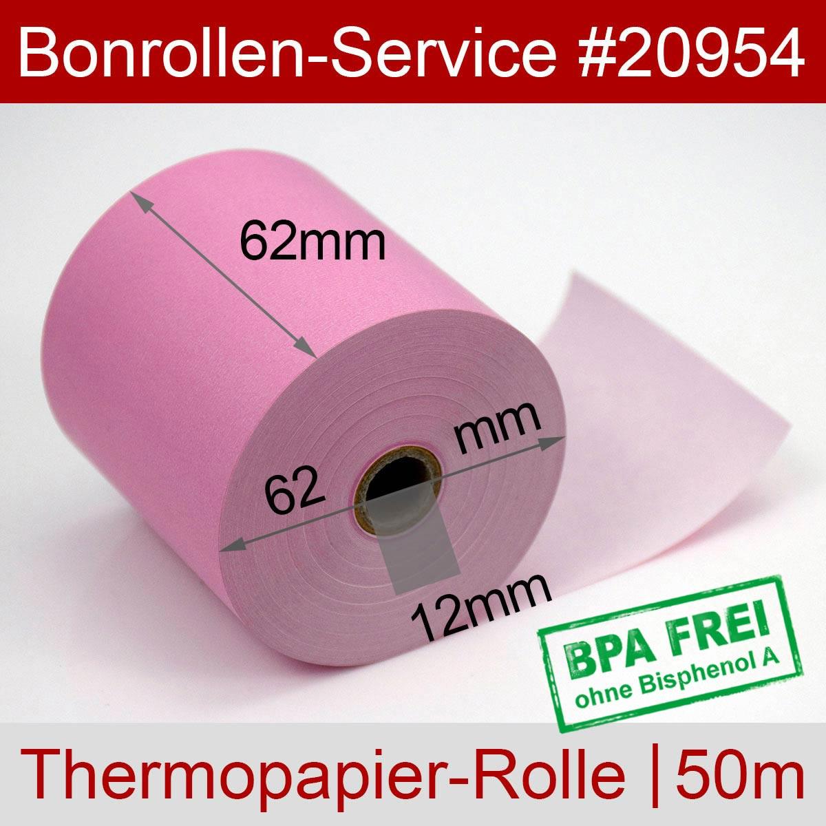 Thermorollen BPA-frei 62 / 50m / 12 rosa - Detailansicht