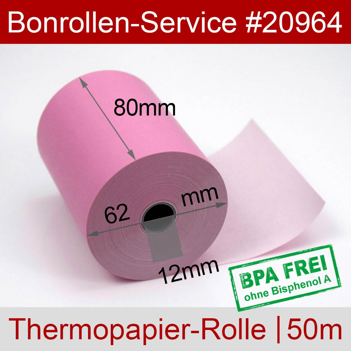 Thermorollen BPA-frei 80 / 50m / 12 rosa - Detailansicht