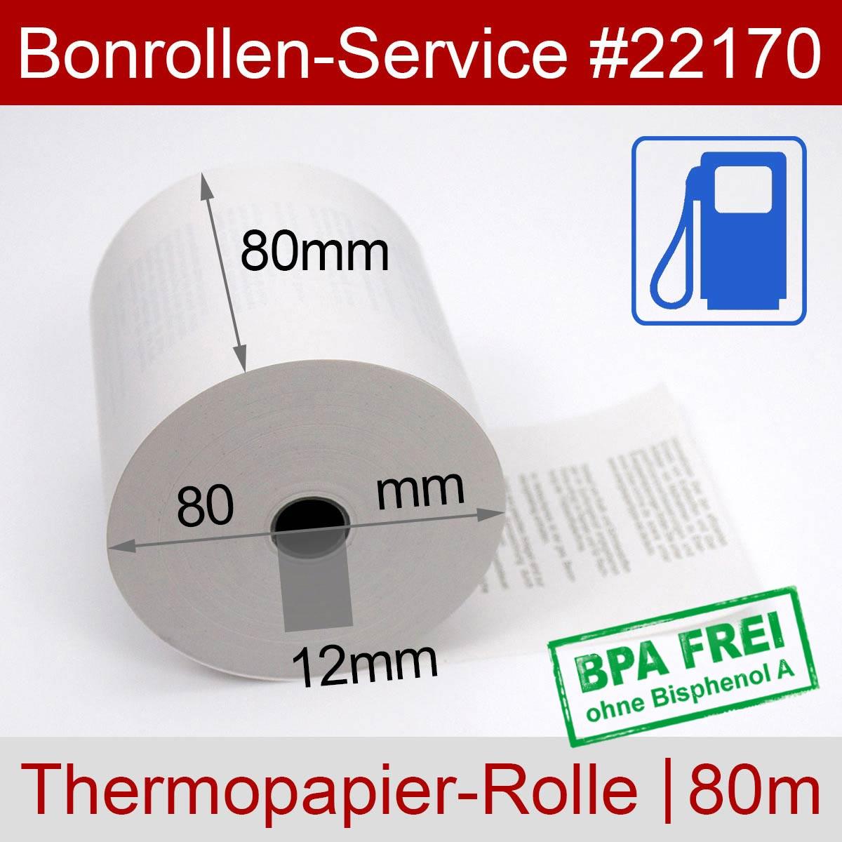 Tankstellenrollen BPA-frei 80 / 80m / 12 weiß, Thermopapier - Detailansicht
