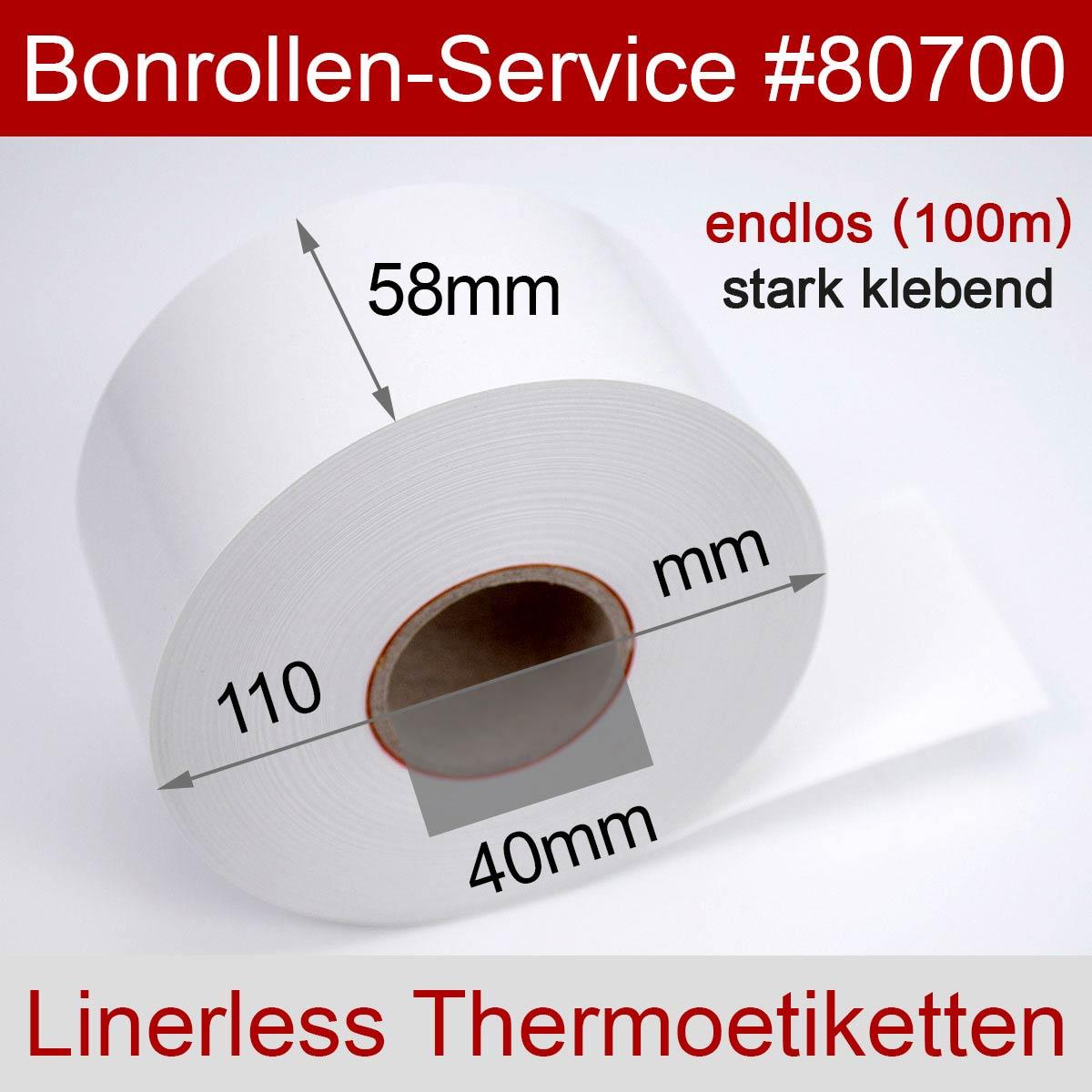 Linerless Thermoetiketten-Rollen 58 100m 40, stark klebend - Detailansicht