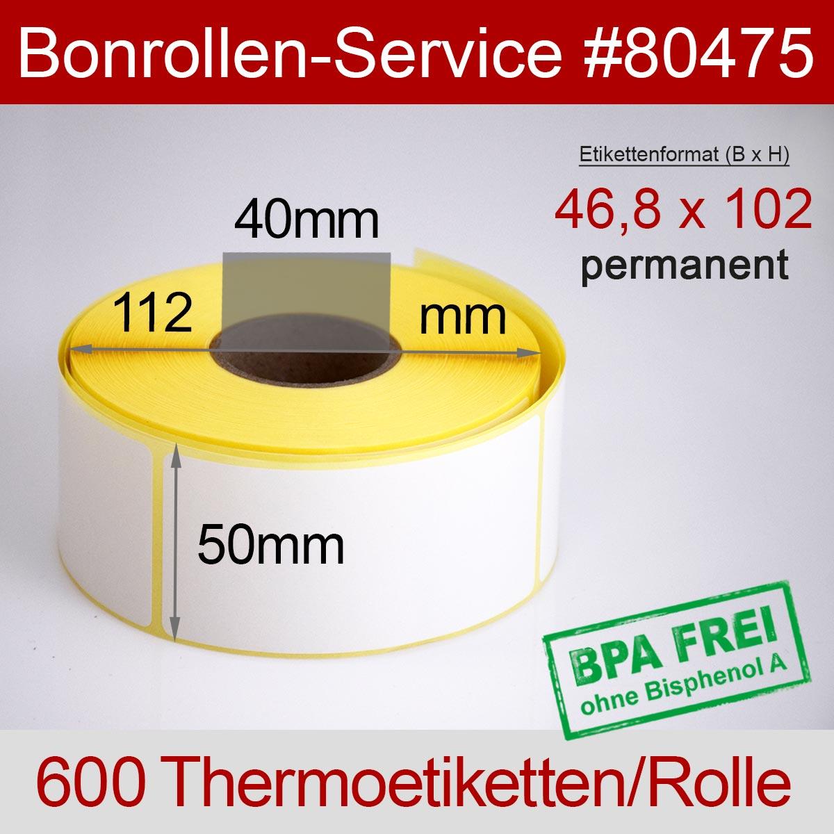 Thermo-Etikettenrollen BPA-frei 46,8mm x 102mm für Avery Berkel, permanent - Detailansicht