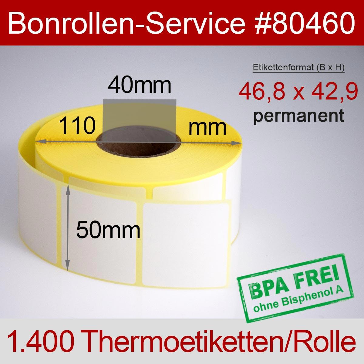 Thermo-Etikettenrollen BPA-frei 46,8mm x 42,9mm für Avery Berkel, permanent - Detailansicht