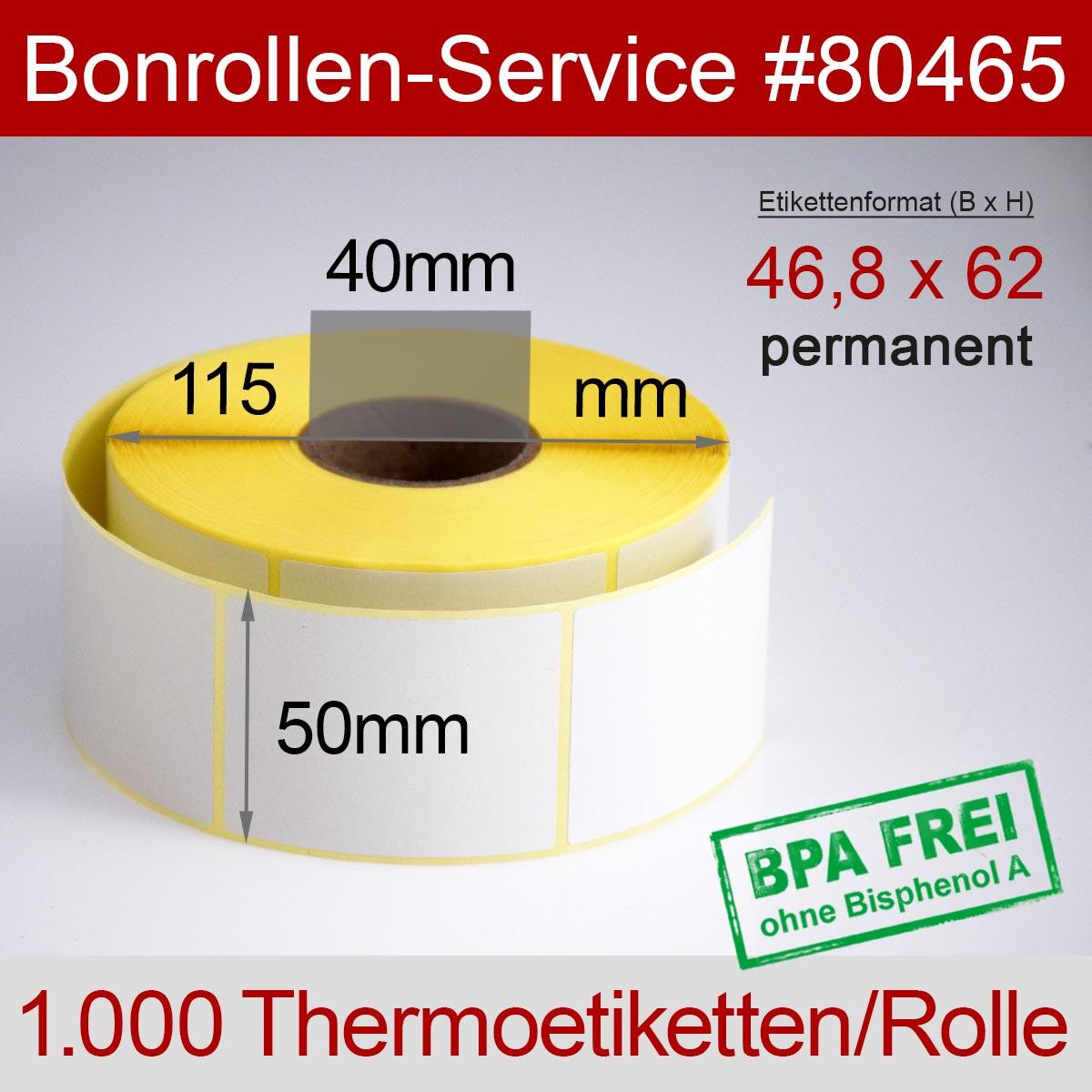 Thermo-Etikettenrollen BPA-frei 46,8mm x 62mm für Avery Berkel, permanent - Detailansicht