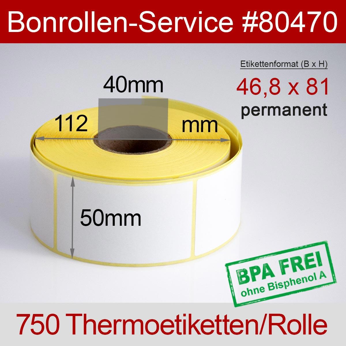 Thermo-Etikettenrollen BPA-frei 46,8mm x 81mm für Avery Berkel, permanent - Detailansicht