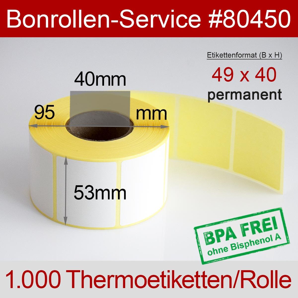 Thermo-Etikettenrollen BPA-frei 49mm x 40mm für Avery Berkel, permanent - Detailansicht