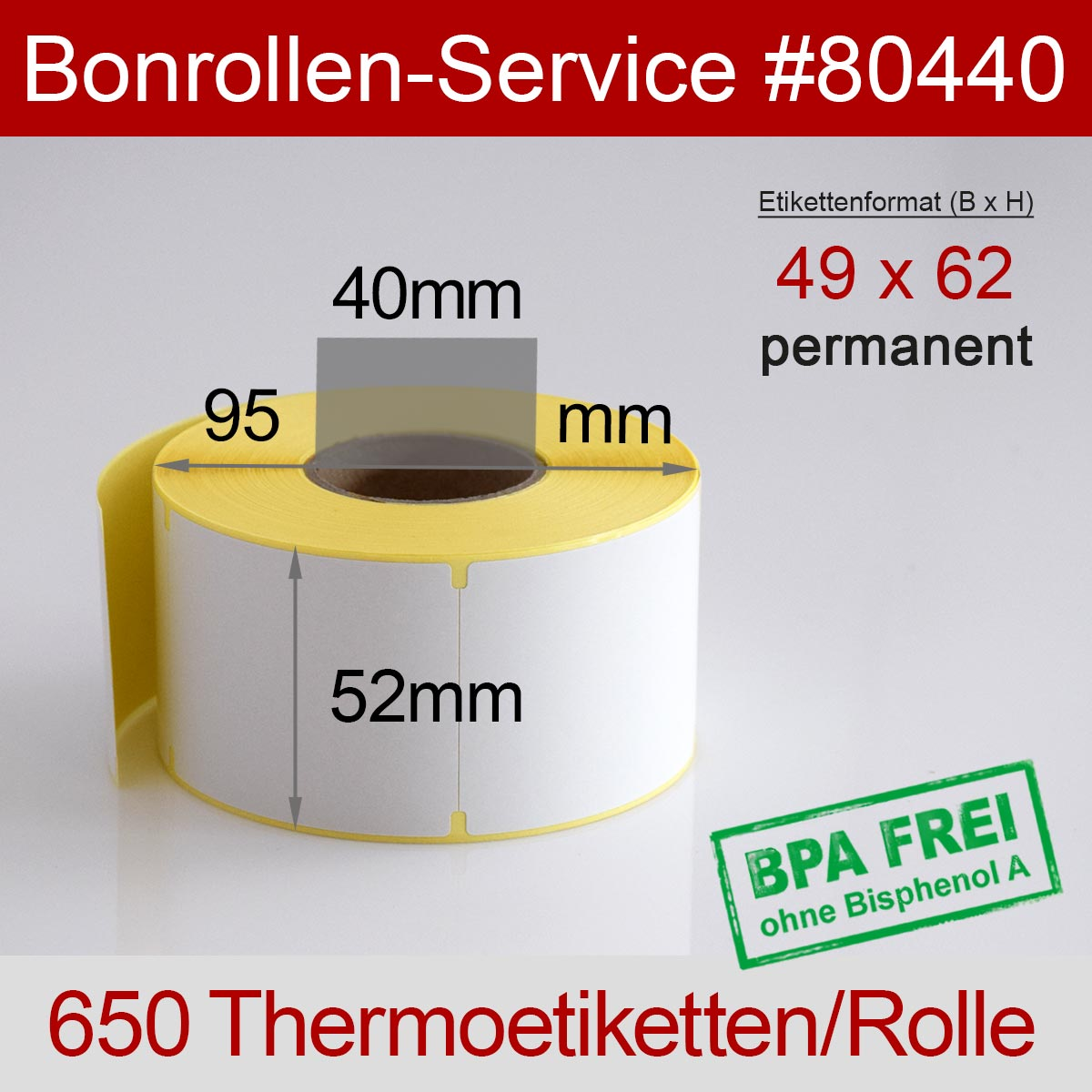 Thermo-Etikettenrollen BPA-frei 49mm x 62mm für Avery Berkel, permanent - Detailansicht