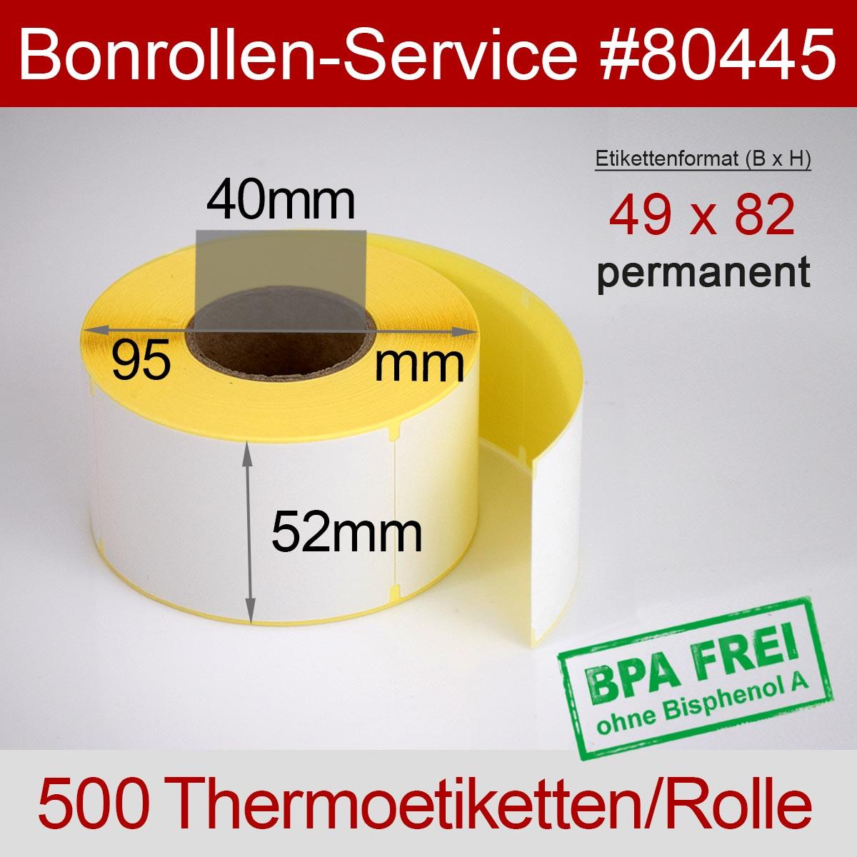 Thermo-Etikettenrollen BPA-frei 49mm x 82mm für Avery Berkel, permanent - Detailansicht