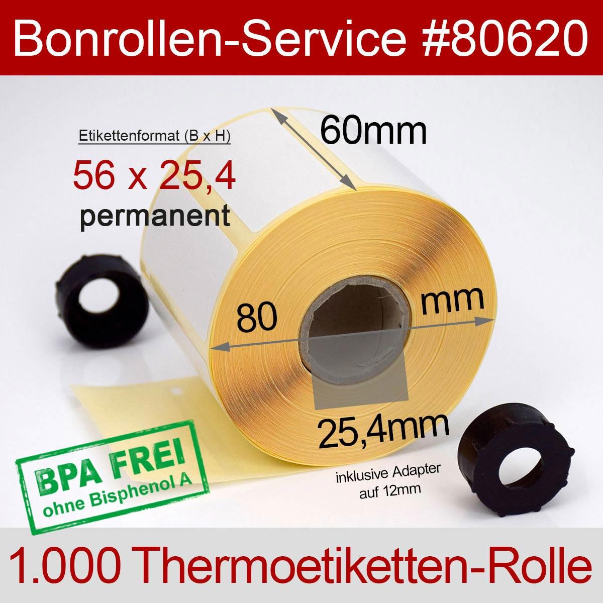 Thermorollen-Etiketten BPA-frei 56 x 25,4 mm permanent klebend - Detailansicht