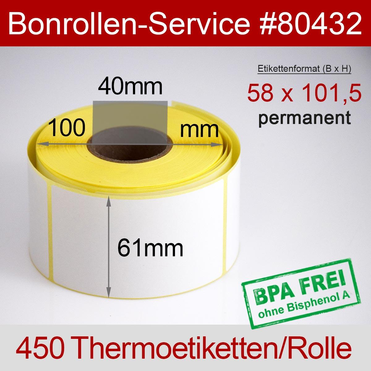 Thermo-Etikettenrollen BPA-frei 58mm x 101,5mm für Bizerba, permanent - Detailansicht