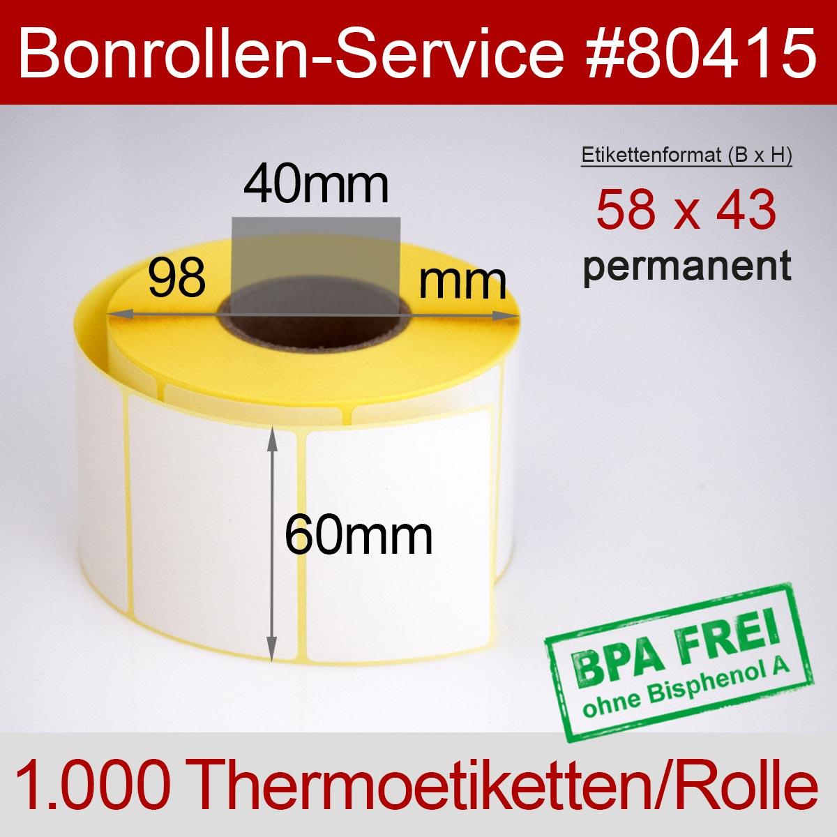 Thermo-Etikettenrollen BPA-frei 58mm x 43mm für Bizerba, permanent - Detailansicht