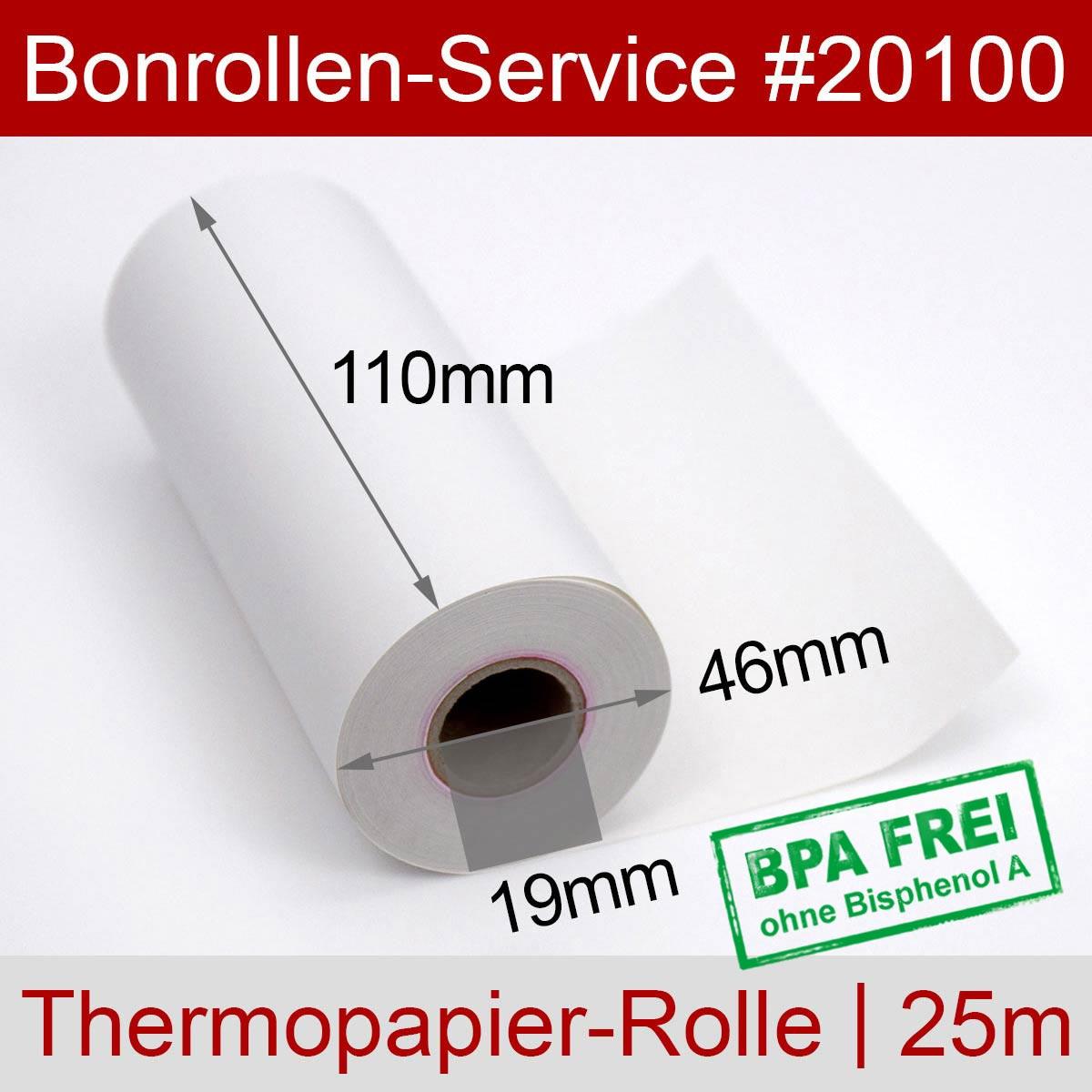 Thermorollen BPA-frei 110 / 25m / 19 weiß - Detailansicht