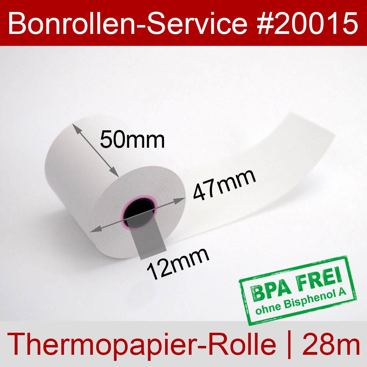 Thermorollen 50 / 28m / 12 BPA-frei, weiß - Detailansicht