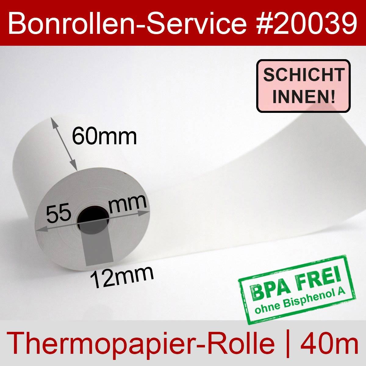 Thermorollen BPA-frei 60 / 40m / 12 weiß, Innenwicklung - Detailansicht